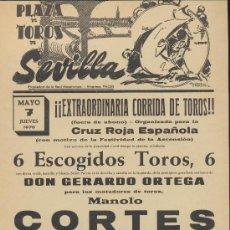 Carteles Toros: PLAZA DE TOROS DE SEVILLA. CARTEL (45X21). CORRIDA 7 DE MAYO 1970.. Lote 19336812