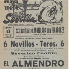 Carteles Toros: PLAZA DE TOROS DE SEVILLA CARTEL (45X21) NOVILLADA CON PICADORES. 8 SEPTIEMBRE DE 1968.. Lote 19336927