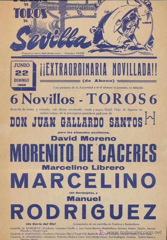 PLAZA DE TOROS DE SEVILLA. CARTEL (45X21). NOVILLADA 22 DE JUNIO 1969. (Coleccionismo - Carteles Gran Formato - Carteles Toros)