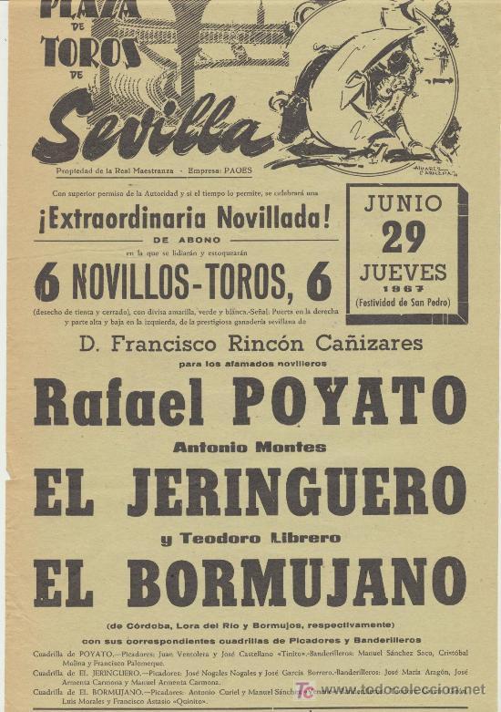 PLAZA DE TOROS DE SEVILLA. CARTEL (45X21). NOVILLADA 29 DE JUNIO DE 1967. (Coleccionismo - Carteles Gran Formato - Carteles Toros)