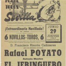 Carteles Toros: PLAZA DE TOROS DE SEVILLA. CARTEL (45X21). NOVILLADA 29 DE JUNIO DE 1967.. Lote 19337217