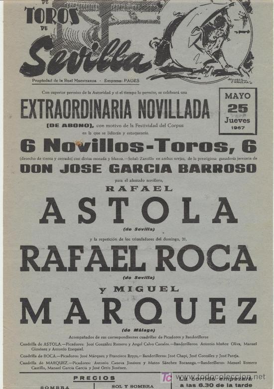 PLAZA DE TOROS DE SEVILLA. CARTEL (45X21). NOVILLADA 25 DE MAYO DE 1967. (Coleccionismo - Carteles Gran Formato - Carteles Toros)