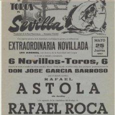 Carteles Toros: PLAZA DE TOROS DE SEVILLA. CARTEL (45X21). NOVILLADA 25 DE MAYO DE 1967.. Lote 19337273