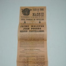 Carteles Toros: CARTEL PLAZA TOROS MADRID JUNIO 1951 , NOVILLOS . JAIME MALAVER,JUAN POSADA,MARIO CASTELLANOS . Lote 19687987