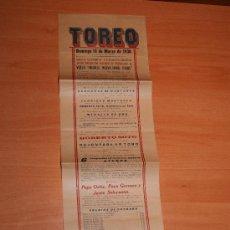 Carteles Toros: PLAZA DE TOROS EL TOREO 1930 MEXICO PEPE ORTIZ,PACO GORRAEZ Y JESUS SOLORZANO . Lote 27598316