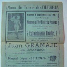 Affiches Tauromachie: CARTEL TOROS - OLLERIA, VALENCIA - SEPTIEMBRE DE 1967. Lote 20093091