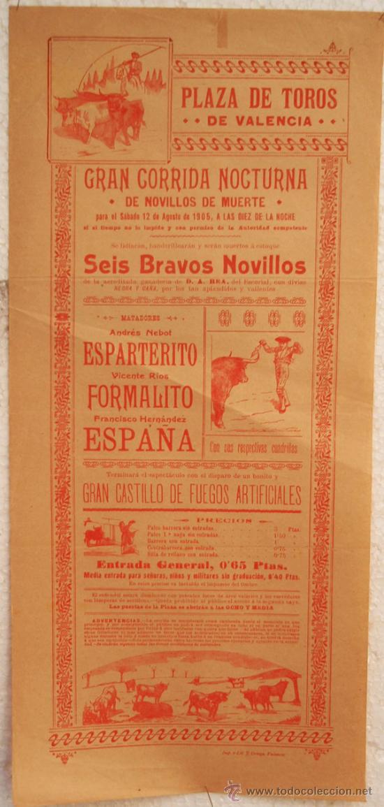 CARTEL TOROS , PLAZA DE TOROS DE VALENCIA 1905, CORRIDA NOCTURNA (Coleccionismo - Carteles Gran Formato - Carteles Toros)