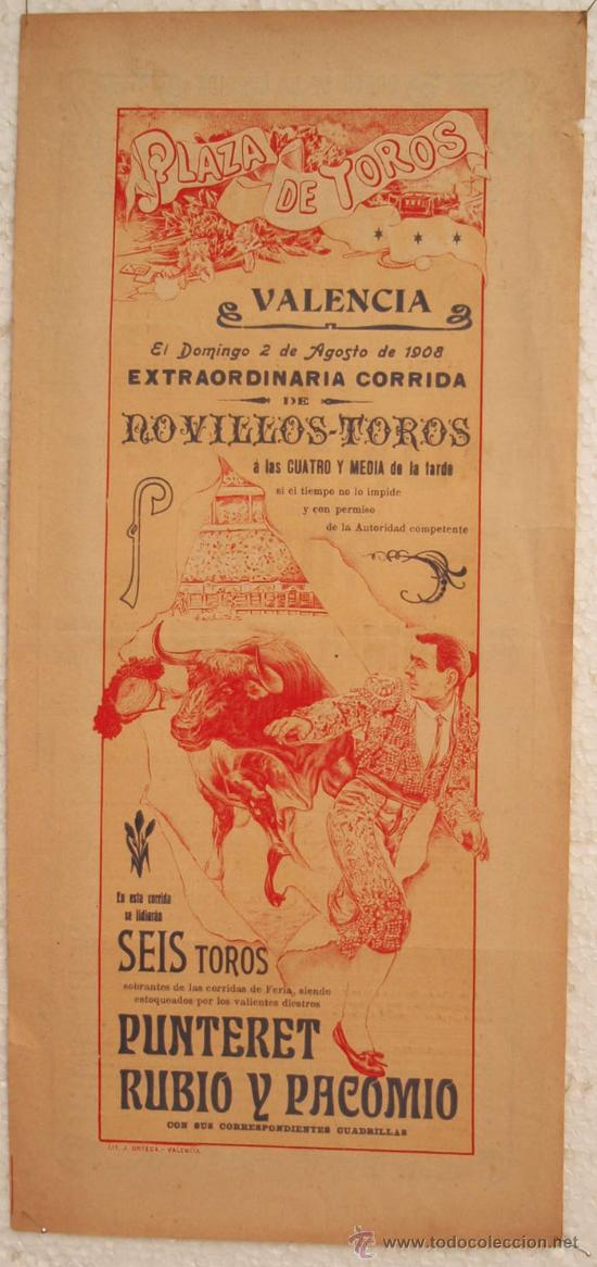 CARTEL TOROS , PLAZA DE TOROS DE VALENCIA 1908 , CORRIDA DE NOVILLOS (Coleccionismo - Carteles Gran Formato - Carteles Toros)