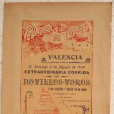 Plakate Stiere - CARTEL TOROS , PLAZA DE TOROS DE VALENCIA 1908 , CORRIDA DE NOVILLOS - 21498474