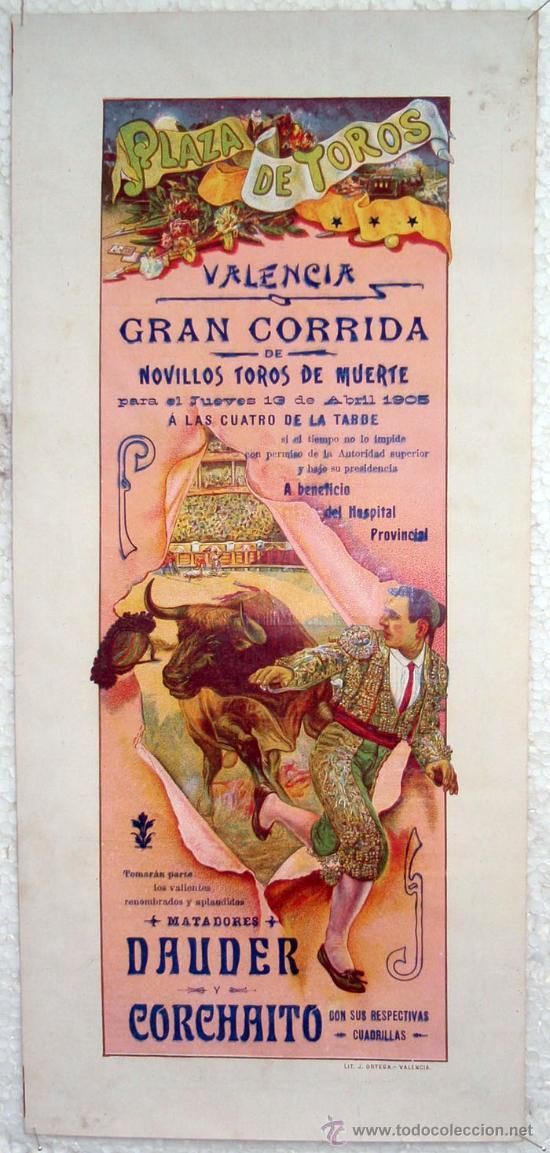 CARTEL TOROS , PLAZA DE TOROS DE VALENCIA 1905 , CORRIDA DE NOVILLOS (Coleccionismo - Carteles Gran Formato - Carteles Toros)