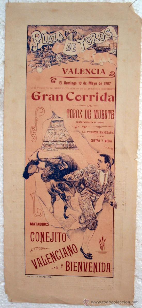 CARTEL TOROS , PLAZA DE TOROS DE VALENCIA 1907 , CORRIDA DE TOROS DE MUERTE, (Coleccionismo - Carteles Gran Formato - Carteles Toros)