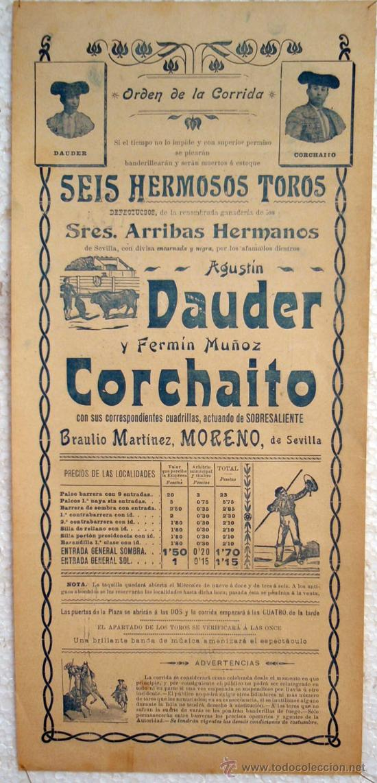 Carteles Toros: CARTEL TOROS , PLAZA DE TOROS DE VALENCIA 1905 , CORRIDA DE NOVILLOS - Foto 2 - 21498505