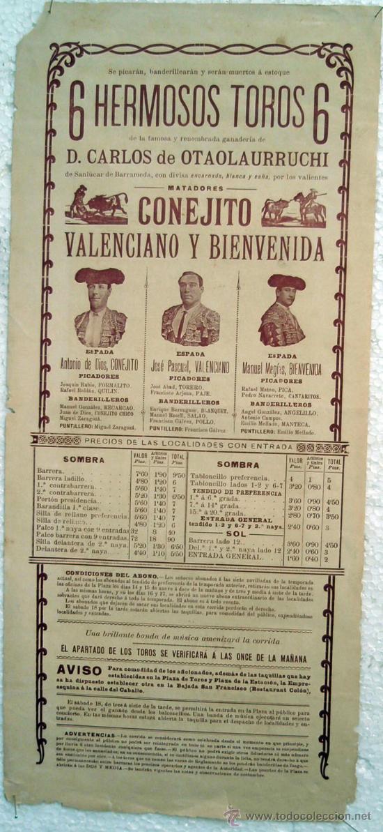 Carteles Toros: CARTEL TOROS , PLAZA DE TOROS DE VALENCIA 1907 , CORRIDA DE TOROS DE MUERTE, - Foto 2 - 21498812