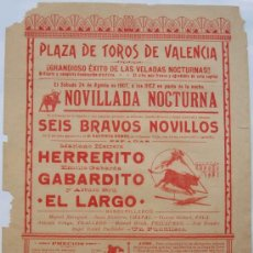 Carteles Toros: CARTEL TOROS , PLAZA DE TOROS DE VALENCIA , 1907 , NOVILLADA. Lote 21515822
