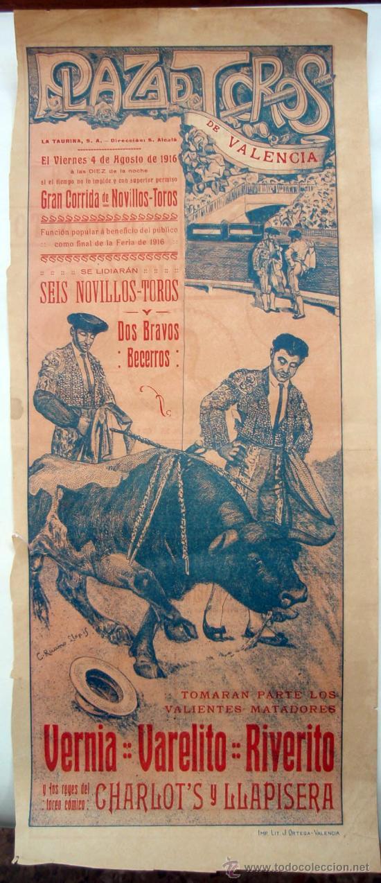 CARTEL TOROS , PLAZA DE TOROS DE VALENCIA , 1916 ,CORRIDA DE NOVILLOS (Coleccionismo - Carteles Gran Formato - Carteles Toros)