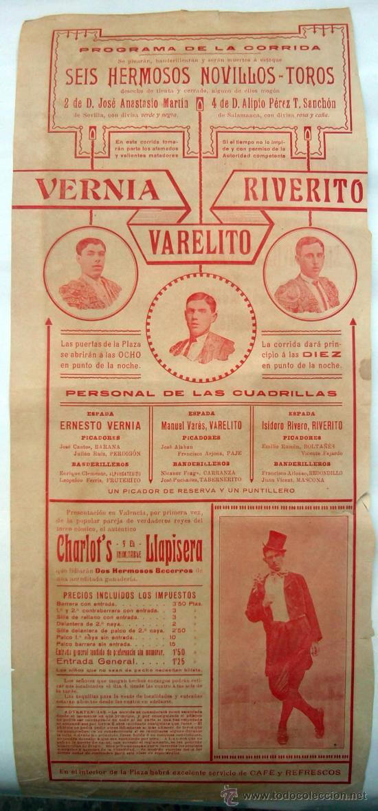 Carteles Toros: CARTEL TOROS , PLAZA DE TOROS DE VALENCIA , 1916 ,CORRIDA DE NOVILLOS - Foto 2 - 21516101