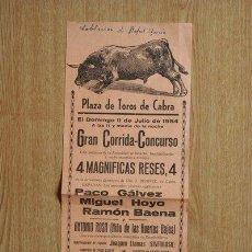 Carteles Toros: CARTEL DE TOROS DE CABRA. 1954.. Lote 21570613