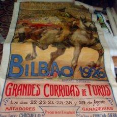 Carteles Toros: CARTEL TOROS , FIESTAS BILBAO 1926, MUY GRANDE, DE ROBERTO DOMINGO, VER FOTOS ADICIONALES. Lote 23506473