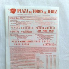 Carteles Toros: CARTEL DE TOROS. JEREZ, CADIZ. 4 CORRIDAS DE TOROS, FERIA DE MAYO 1991.. Lote 21873995