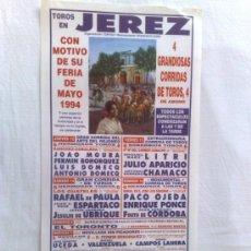 Carteles Toros: CARTEL DE TOROS. JEREZ, CADIZ. 4 CORRIDAS DE TOROS, FERIA DE MAYO 1994.. Lote 21874559