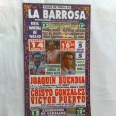 Carteles Toros: CARTEL DE TOROS. LA BARROSA, CADIZ. FERIA TAURINA DE VERANO, AGOSTO 1999.. Lote 21875210
