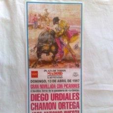 Carteles Toros: CARTEL DE TOROS. LAS VENTAS, MADRID. NOVILLADA CON PICADORES, GANADERIA DE QUINTANA. ABRIL DE 1997.. Lote 21875564
