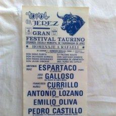 Carteles Toros: CARTEL DE TOROS. JEREZ, CADIZ. FESTIVAL TAURINO, HOMENAJE A RAFAELI. NOVIEMBRE DE 1989. Lote 21875794