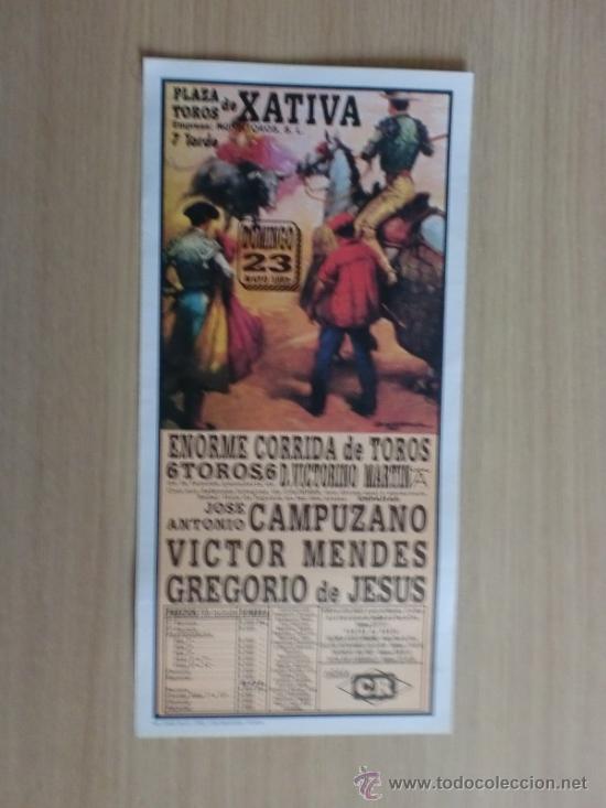 CARTEL DE TOROS. XATIVA, VALENCIA. MAYO 1993. JOSE A. CAMPUZANO, VICTOR MENDES Y GREGORIO DE JESUS. (Coleccionismo - Carteles Gran Formato - Carteles Toros)