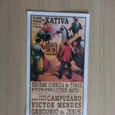 Carteles Toros: CARTEL DE TOROS. XATIVA, VALENCIA. MAYO 1993. JOSE A. CAMPUZANO, VICTOR MENDES Y GREGORIO DE JESUS.. Lote 22026516