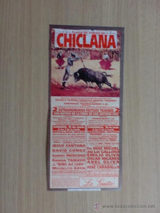 CARTEL DE TOROS. CHICLANA, CADIZ. FERIA DE SAN ANTONIO 2002. 2 FESTEJOS TAURINOS. (Coleccionismo - Carteles Gran Formato - Carteles Toros)