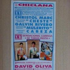 Carteles Toros: CARTEL DE TOROS. CHICLANA, CADIZ. FERIA DE SAN ANTONIO 1994.2 ESPECTACULOS TAURINOS.. Lote 22027938