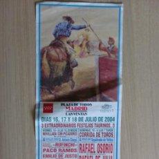 Carteles Toros: CARTEL DE TOROS. LAS VENTAS, MADRID. JUNIO 2004. 3 FESTEJOS TAURINOS.. Lote 22035882