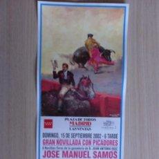 Carteles Toros: CARTEL DE TOROS. LAS VENTAS, MADRID. SEPTIEMBRE 2002, GRAN NOVILLADA CON PICADORES.. Lote 22038434