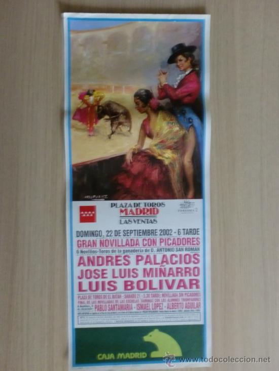 CARTEL DE TOROS. LAS VENTAS, MADRID. SEPTIEMBRE 2002, NOVILLADA CON PICADORES. (Coleccionismo - Carteles Gran Formato - Carteles Toros)