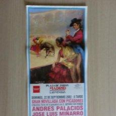 Carteles Toros: CARTEL DE TOROS. LAS VENTAS, MADRID. SEPTIEMBRE 2002, NOVILLADA CON PICADORES.. Lote 22038617