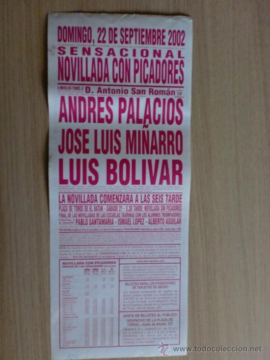 Carteles Toros: CARTEL DE TOROS. LAS VENTAS, MADRID. SEPTIEMBRE 2002, NOVILLADA CON PICADORES. - Foto 2 - 22038617