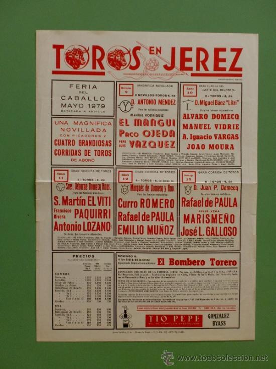 CARTEL DE TOROS. JEREZ, CADIZ. FERIA DEL CABALLO MAYO 1979. ALTERNATIVA DE ANTONIO LOZANO. (Coleccionismo - Carteles Gran Formato - Carteles Toros)
