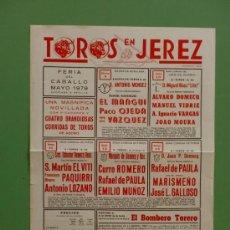 Carteles Toros: CARTEL DE TOROS. JEREZ, CADIZ. FERIA DEL CABALLO MAYO 1979. ALTERNATIVA DE ANTONIO LOZANO.. Lote 22140782