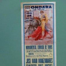 Carteles Toros: CARTEL DE TOROS. ONDARA, VALENCIA. JULIO 1983. ALTERNATIVA DE ANTONIO CASELLES NIÑO DE LA PALMA.. Lote 22161125