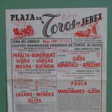Carteles Toros: CARTEL DE TOROS. JEREZ, CADIZ. FERIA DEL CABALLO 1987. ALTERNATIVA DE LUIS PARRA JEREZANO.. Lote 22163488