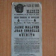 Carteles Toros: CARTEL DE TOROS DE MADRID. 1951.. Lote 22349350