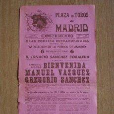Carteles Toros: CARTEL DE TOROS DE MADRID. 1956.. Lote 194678383