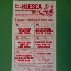 Carteles Toros: CARTEL DE TOROS. HUESCA. FIESTAS DE SAN LORENZO, AGOSTO 1988. ALTERNATIVA DE RAUL ZORITA.. Lote 22352720