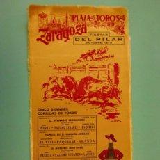 Carteles Toros: CARTEL DE TOROS EN SEDA. ZARAGOZA. OCTUBRE 1973. ALTERNATIVA DE ALVARO LAURIN.. Lote 99473254