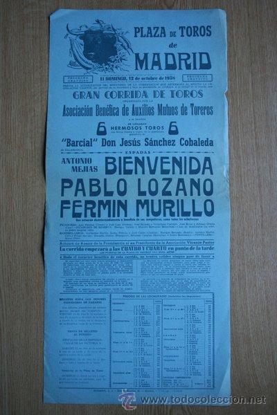 CARTEL DE TOROS DE MADRID. 1958. (Coleccionismo - Carteles Gran Formato - Carteles Toros)