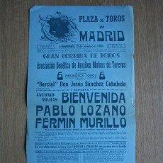 Carteles Toros: CARTEL DE TOROS DE MADRID. 1958.. Lote 22370069
