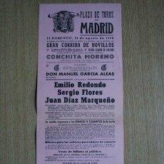Carteles Toros: CARTEL DE TOROS DE MADRID. 1958.. Lote 22370128