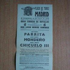 Carteles Toros: CARTEL DE TOROS DE MADRID. 1958.. Lote 22370190