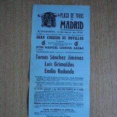 Carteles Toros: CARTEL DE TOROS DE MADRID. 1958.. Lote 22370233