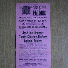 Carteles Toros: CARTEL DE TOROS DE MADRID. 1958.. Lote 22370274